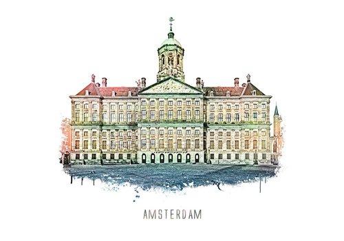Ben Kleyn Amsterdam poster | Paleis | vintage | 30x30