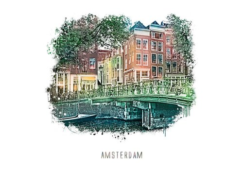 Ben Kleyn Amsterdam poster | Prinsengracht 1 | vintage | 30x30