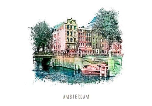 Ben Kleyn Amsterdam poster | Prinsengracht 2 | vintage | 30x30