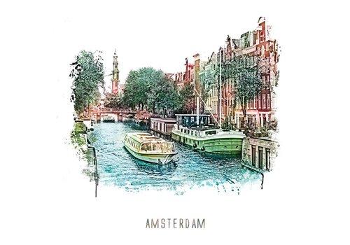 Ben Kleyn Amsterdam poster | Prinsengracht 3 | vintage | 30x30