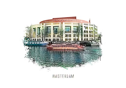Amsterdam Stopera – vintage 30x30