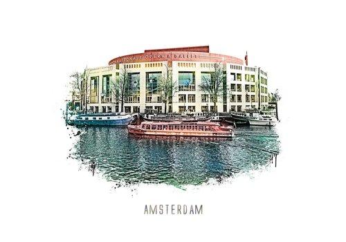 Ben Kleyn Amsterdam poster | Stopera | vintage | 30x30