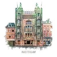 Amsterdam poster | Tuschinski | vintage | 30x30