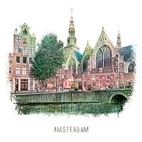 Amsterdam Oudezijds Voorburgwal – vintage 30x30