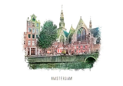 Ben Kleyn Amsterdam Oudezijds Voorburgwal – vintage 30x30
