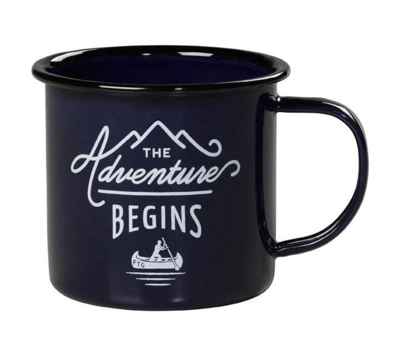 Enamel Mug Blue - Emaille Mok The Adventure Begins