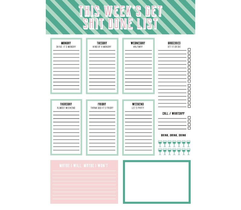 Planner This week's  get shit done list
