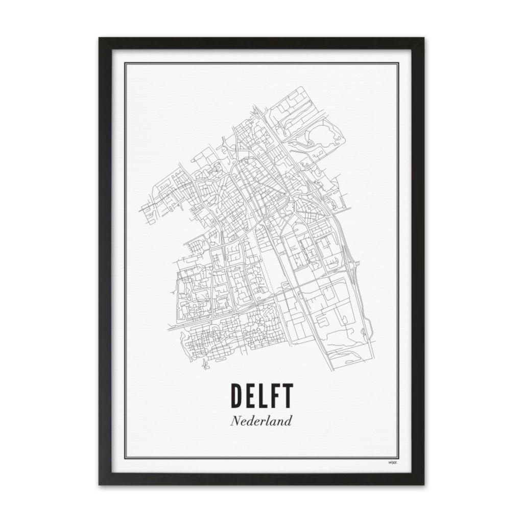 A4 Poster Delft Stadsplattegrond Zwart Wit Modern Kkec