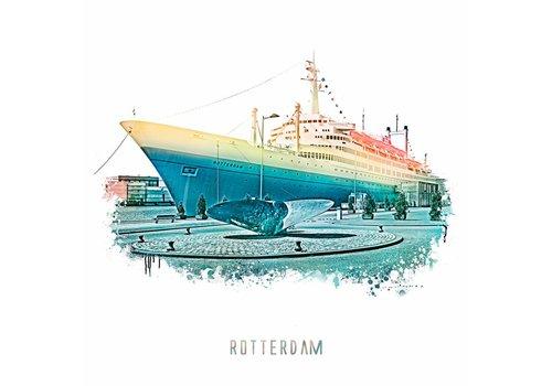 Ben Kleyn Rotterdam poster | SS Rotterdam | Vintage 30x30