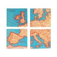 4 vintage map onderzetters