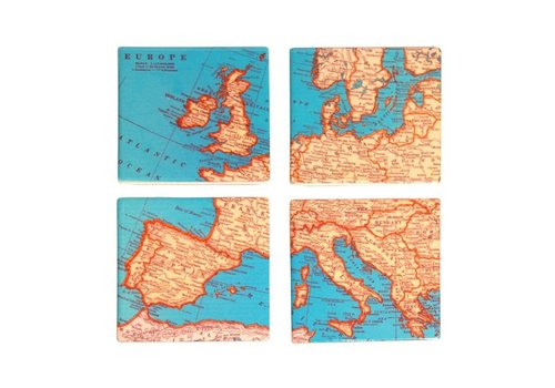 Sass & Belle 4 vintage map onderzetters