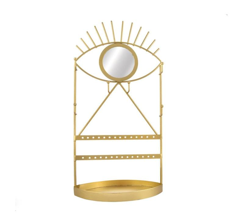 Gold eye see you jewellery holder with mirror