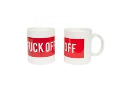 Fisura Fuck off mug rood-wit