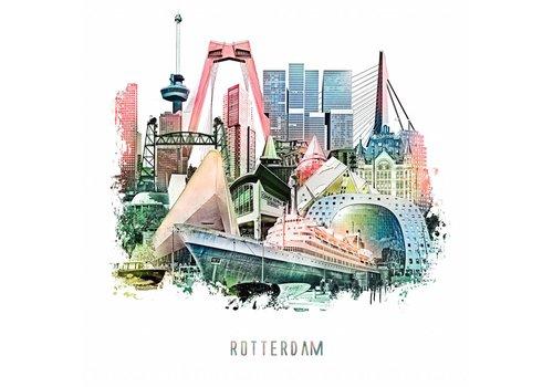 Ben Kleyn Rotterdam poster | Collage | Vintage poster | 30x30