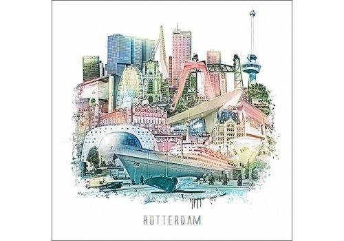 Ben Kleyn Rotterdam Collage 2 - Vintage poster 30x30