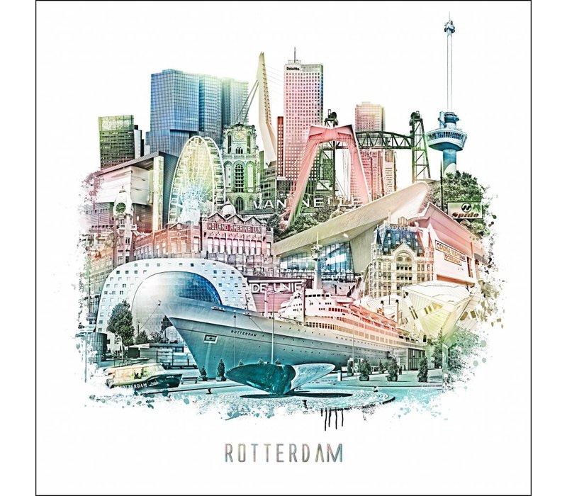 Rotterdam Collage 2 - Vintage poster 30x30