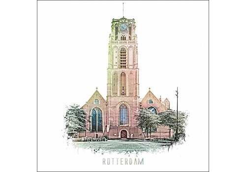 Ben Kleyn Rotterdam poster   Laurenskerk   vintage 30x30