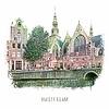 Ben Kleyn Amsterdam poster | Oudezijds Voorburgwal | vintage | 30x30