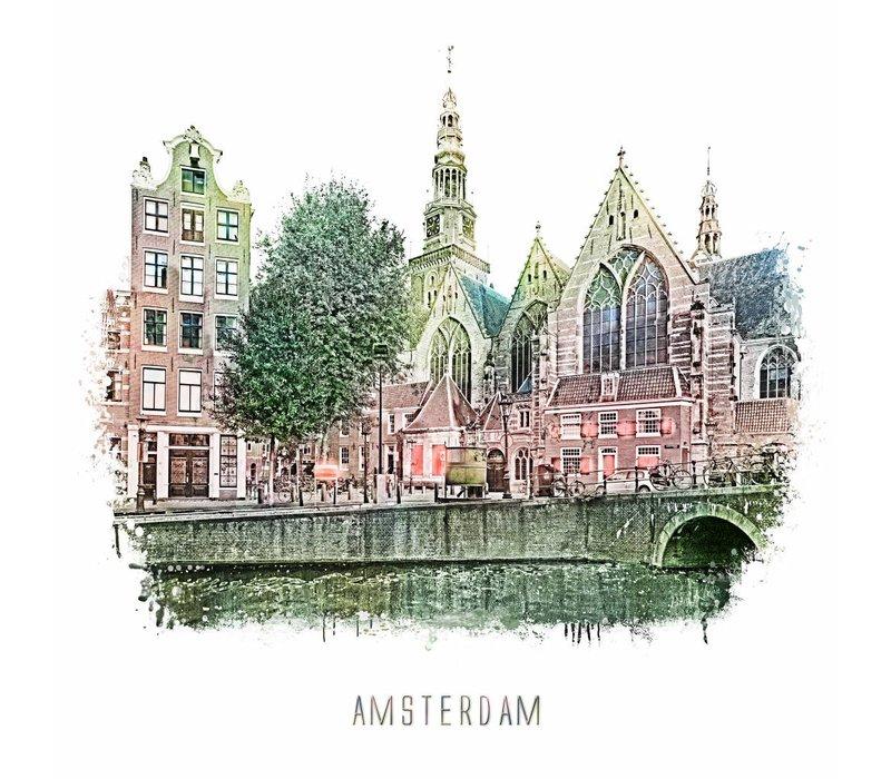 Amsterdam poster | Oudezijds Voorburgwal | vintage | 30x30