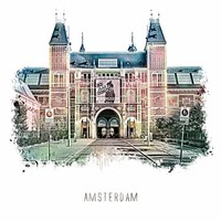 Amsterdam poster | Rijksmuseum | vintage | 30x30