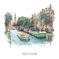 Amsterdam poster | Prinsengracht 3 | vintage | 30x30