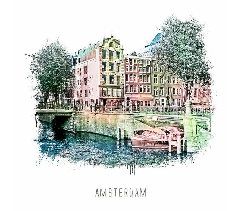 Amsterdam poster | Prinsengracht 2 | vintage | 30x30