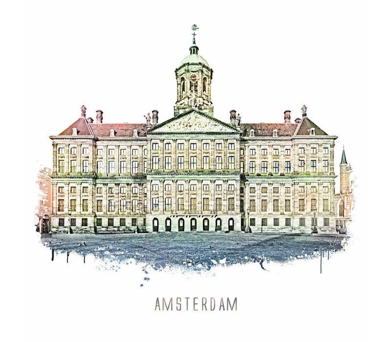 Amsterdam poster | Paleis | vintage | 30x30
