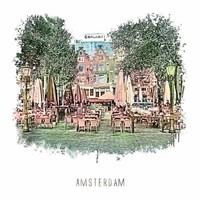 Amsterdam poster | Leidseplein | vintage | 30x30