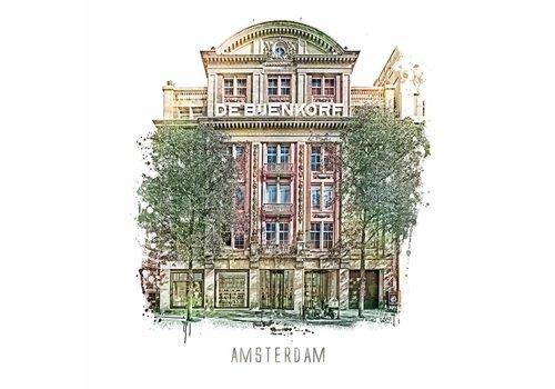 Ben Kleyn Amsterdam poster | Bijenkorf | vintage | 30x30