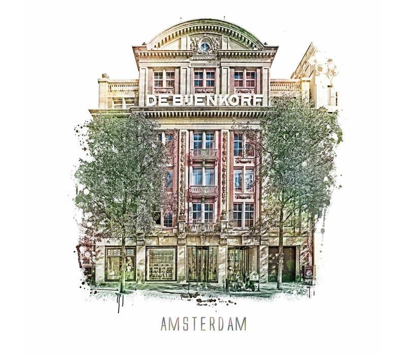 Amsterdam poster | Bijenkorf | vintage | 30x30