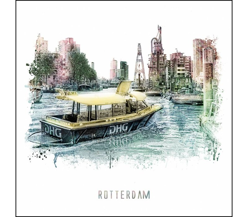 Rotterdam poster | Watertaxi | vintage poster | 30x30