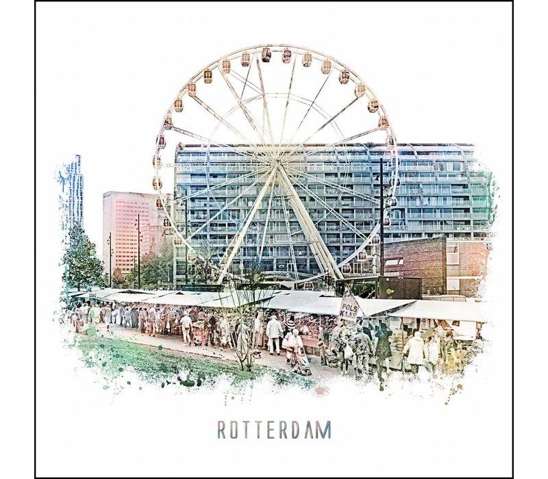 Rotterdam poster | Markthal en Markt | vintage poster | 30x30
