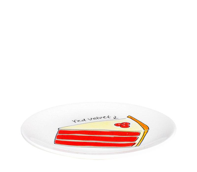Cake plate velvet cake