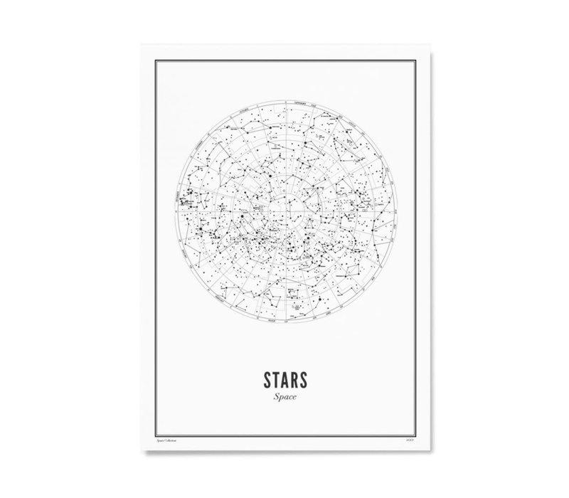 Poster A4 - Stars White