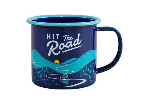 Wild & Wolf Enamel Mug Blue - Hit the road - met turquoise
