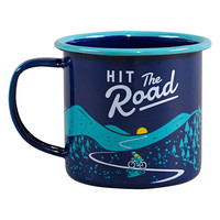 Enamel Mug Blue - Hit the road - Emaille Mok