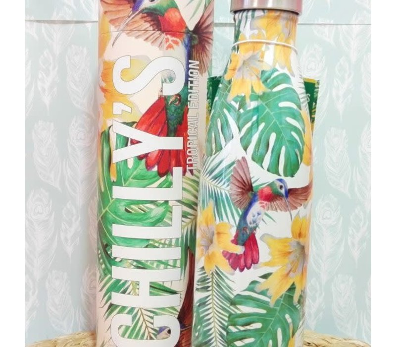 Chilly's bottle 500ml tropical flowers