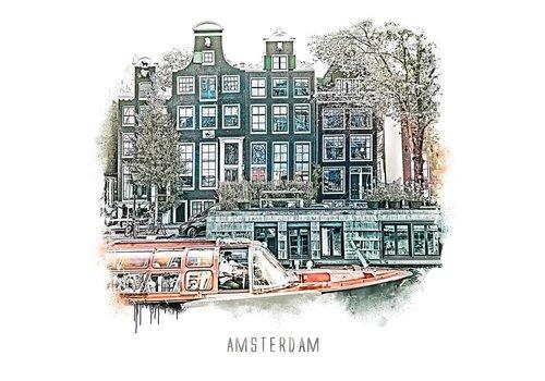 Ben Kleyn Amsterdam poster   Prinsengracht   vintage   30x30