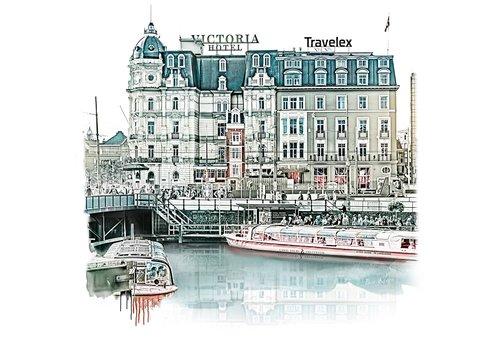 Ben Kleyn Amsterdam poster | Victoria Hotel | vintage | 30x30