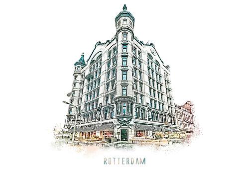 Ben Kleyn Rotterdam poster | Witte Huis | vintage | 30x30