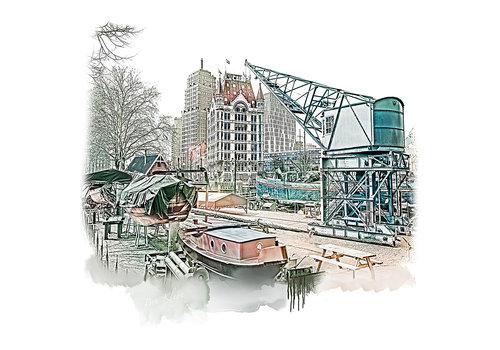 Ben Kleyn Rotterdam poster   Oude haven en Witte Huis   vintage   30x30