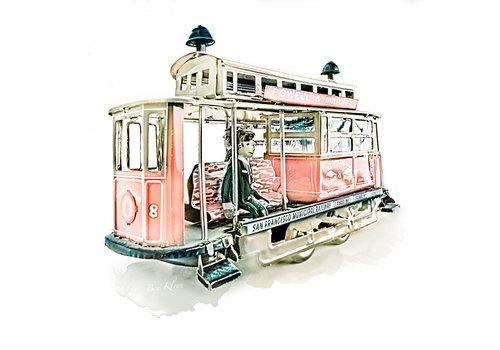 Ben Kleyn Poster | Speelgoed | Tram | Vintage | 30x30