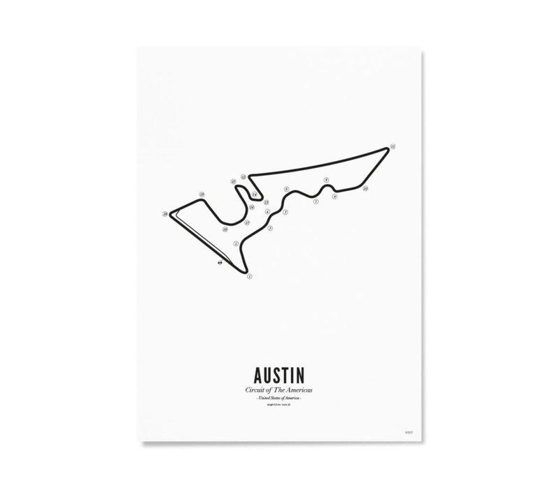 Ansichtkaart Circuit Austin wit