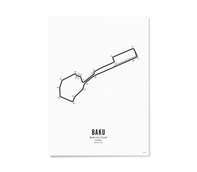 Ansichtkaart Circuit Baku wit