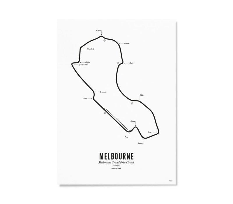 Ansichtkaart Circuit Melbourne wit