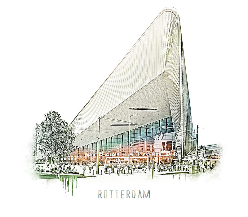 Rotterdam | Poster | Centraal station 2 | Vintage |