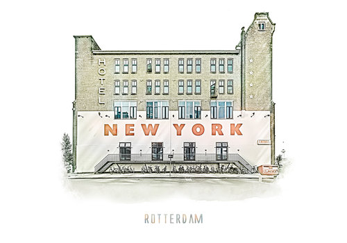 Ben Kleyn Rotterdam   Poster   Hotel New York 3   Vintage  