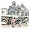 Ben Kleyn Rotterdam   Poster   Laurenskerk en markt   Vintage  
