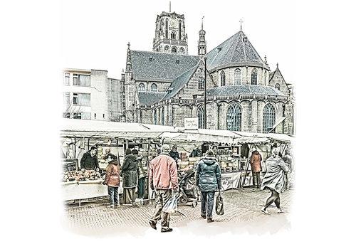 Ben Kleyn Rotterdam | Poster | Laurenskerk en markt | Vintage |