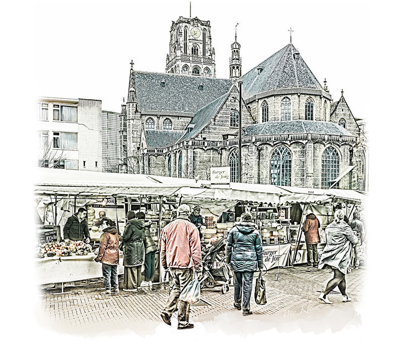 Rotterdam | Poster | Laurenskerk en markt | Vintage |